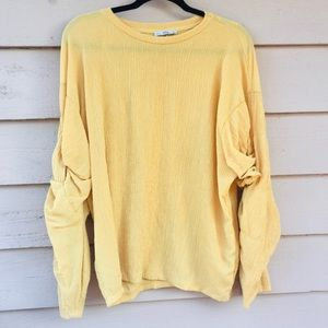 Zara Mustard Yellow Puff Sleeve Top